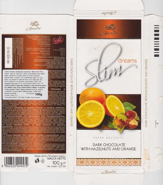 Amadeo Slim dreams dark chocolate with hazelnuts and orange
