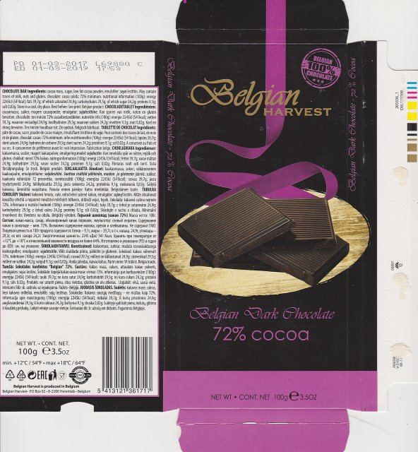 Belgian Harvest dark chocolate 72 cocoa