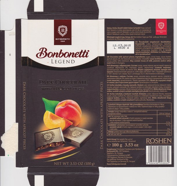 Bonbonetti legend dark chocolate with apricot pieces