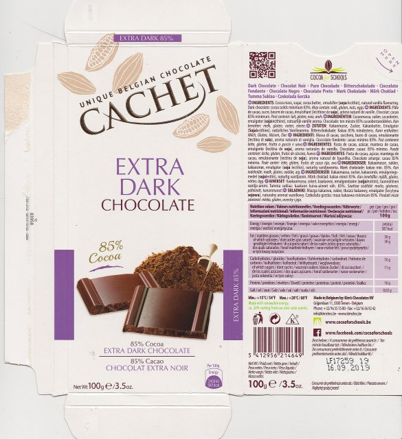 Cachet extra dark chocolate 85 587kcal