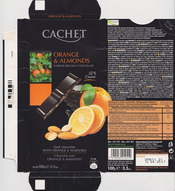 Cachet orange & almonds 57 510kcal