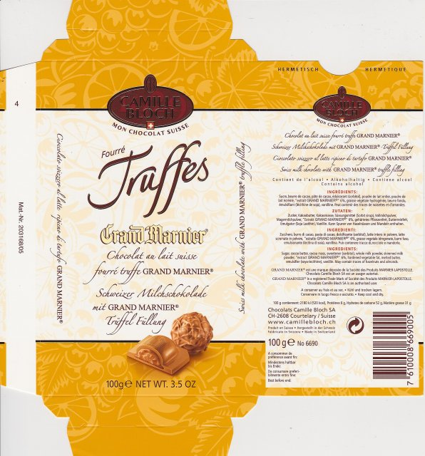 Camille Bloch pion 3 Truffes Grand Marnier