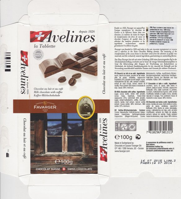 Favarger Avelines milk chocolate with coffee