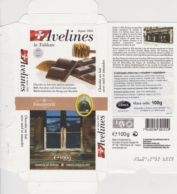 Favarger Avelines milk chocolate with honey and almonds