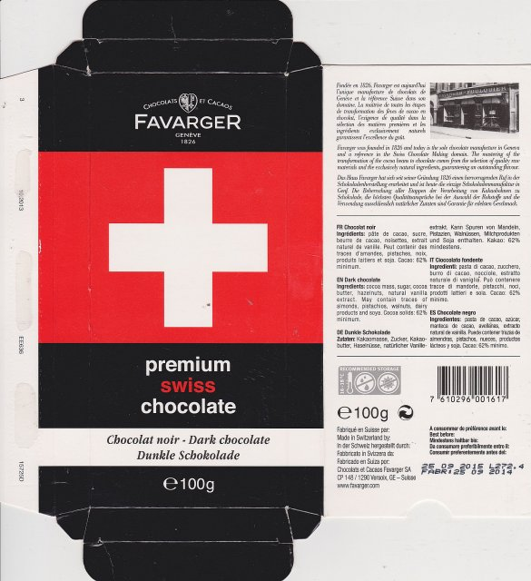 Favarger flag dark chocolate