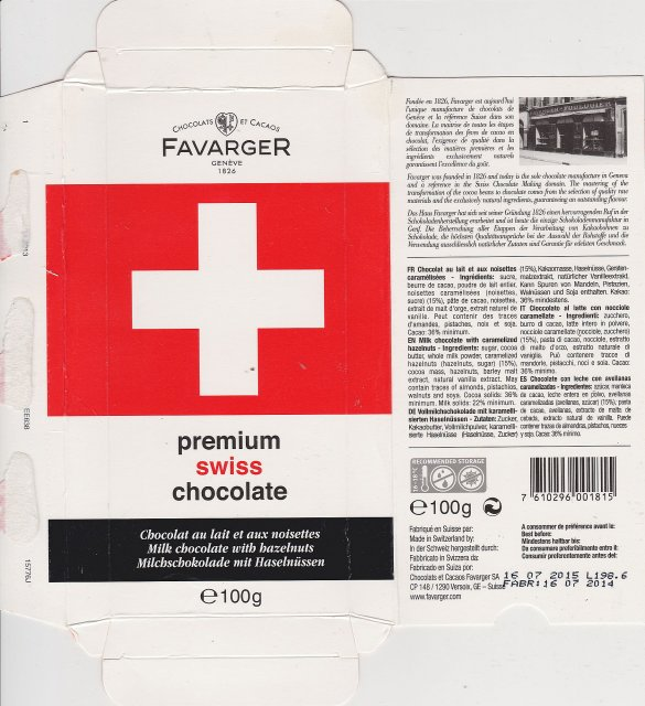Favarger flag milk chocolate with hazelnuts