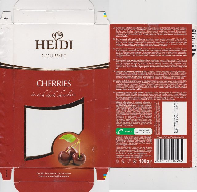 Heidi Gourmet cherries in rich dark chocolate
