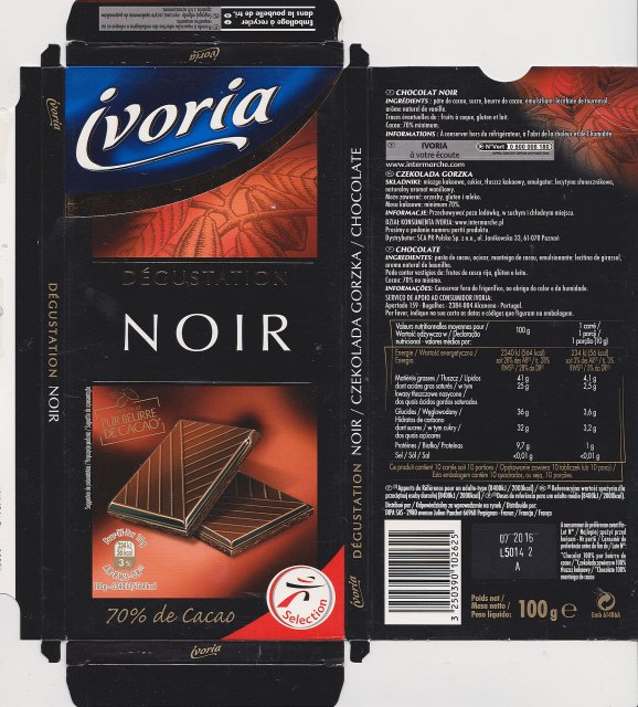Ivoria Noir degustation 56kcal selection