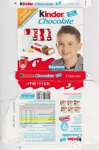 Kinder Chocolate kwadrat EL Szymon 70kcal