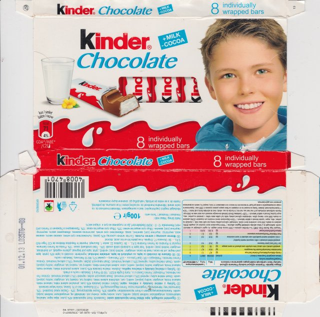 Kinder Chocolate prostokat niebieska milk cocoa 71kcal individually