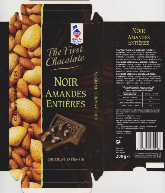 Leader Price the first chocolate noir amandes entieres