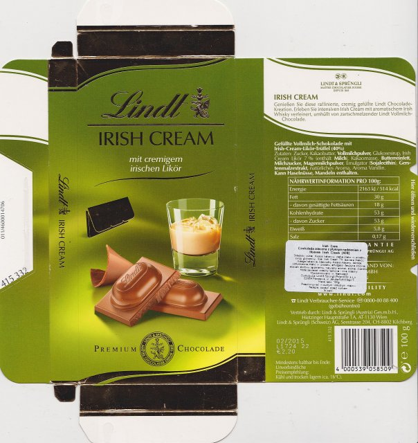 Lindt male pion 1 Irish Cream