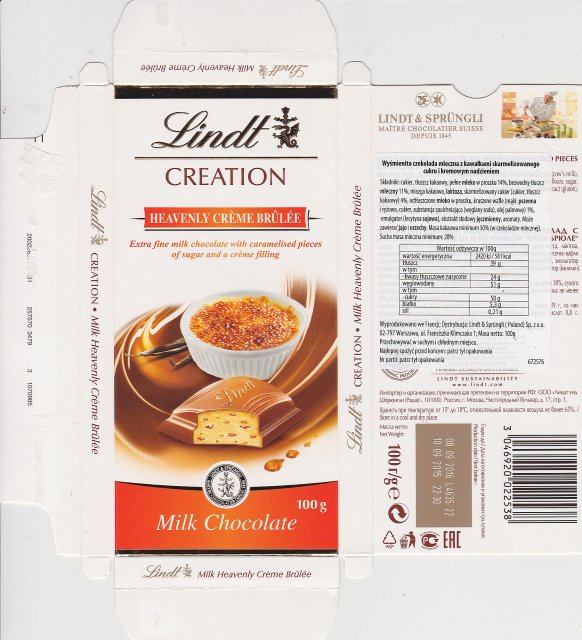 Lindt male pion creation heavenly creme brulee milk chocolate