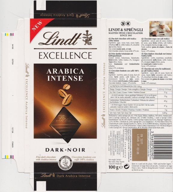 Lindt srednie excellence 1 Arabica Intense dark noir new