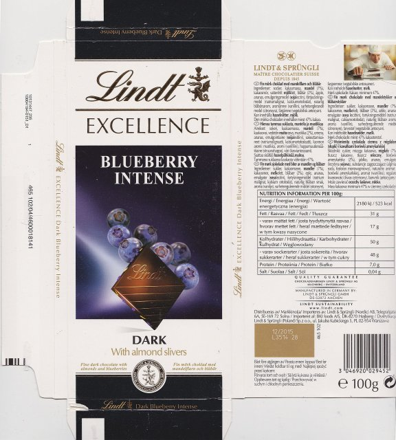 Lindt srednie excellence 1 bluberry intense dark with almond slivers