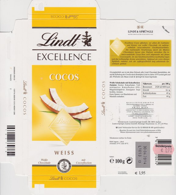 Lindt srednie excellence 1 cocos weiss