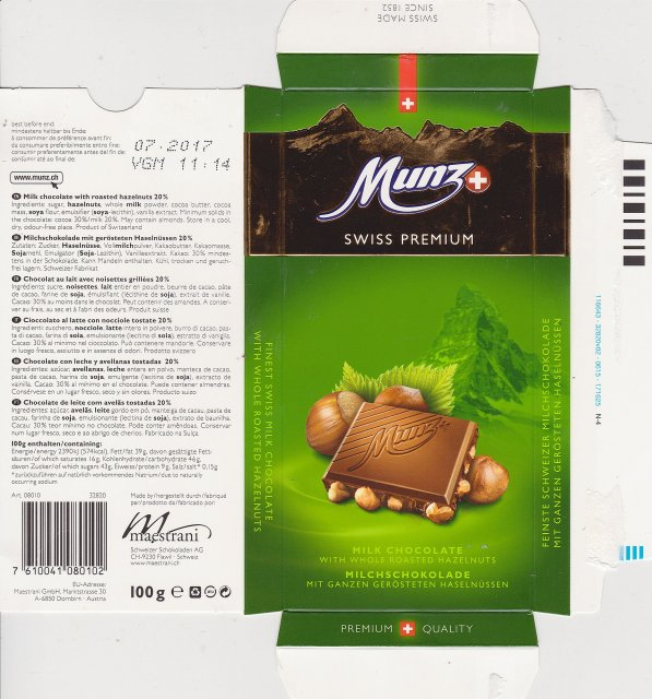 Maestrani Munz 2 swiss premium milk chocolate with whole roasted hazelnuts