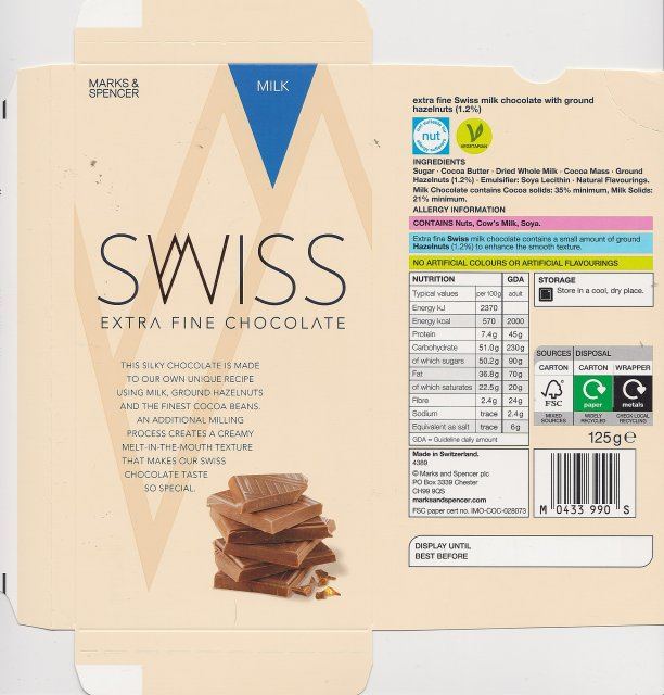 Marks Spencer Swiss milk