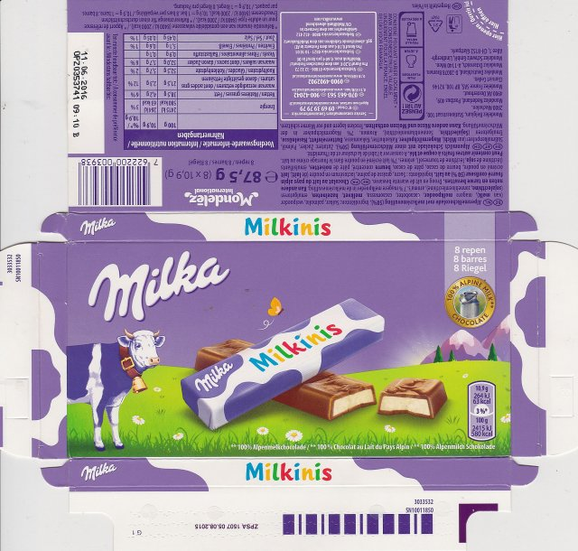 Milka male Milkinis 63kcal 8 repen 100 alpine milk chocolate