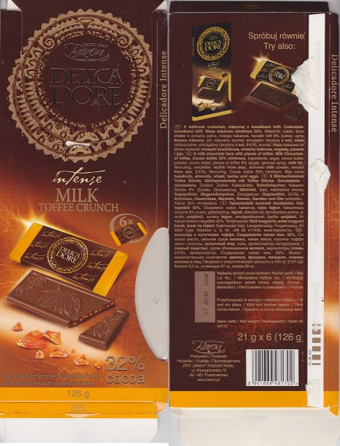 Millano Baron DelicaDore intense milk toffee crunch