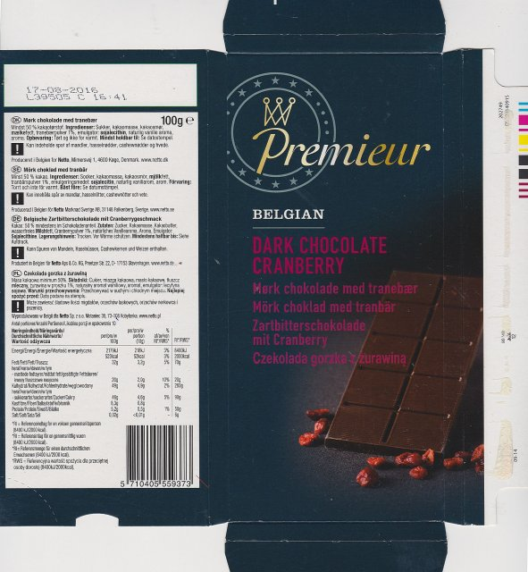 Premieur Belgian dark chocolate cranberry