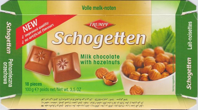 Schogetten Trumpf male 15 Milk chocolate with hazelnuts New improved quality no artificial flavours