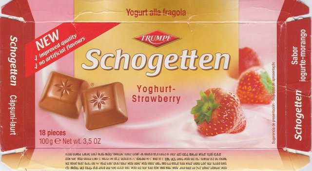 Schogetten Trumpf male 15 Yoghurt-Strawberry New improved quality no artificial flavours