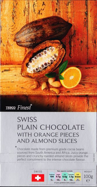 Tesco 1 Swiss plain chocolate with orange pieces and almond slices_cr