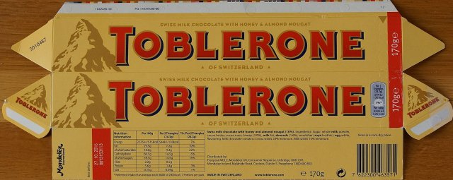 Toblerone swiss milk chocolate with honey and almond nougat 130 kcal