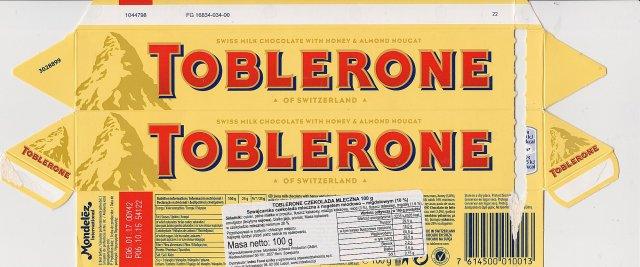 Toblerone swiss milk chocolate with honey and almond nougat 1