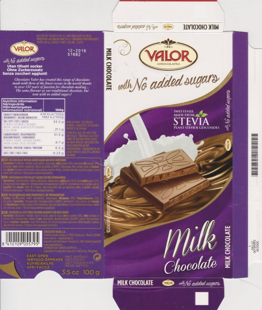Valor with no added sugar stevia milk