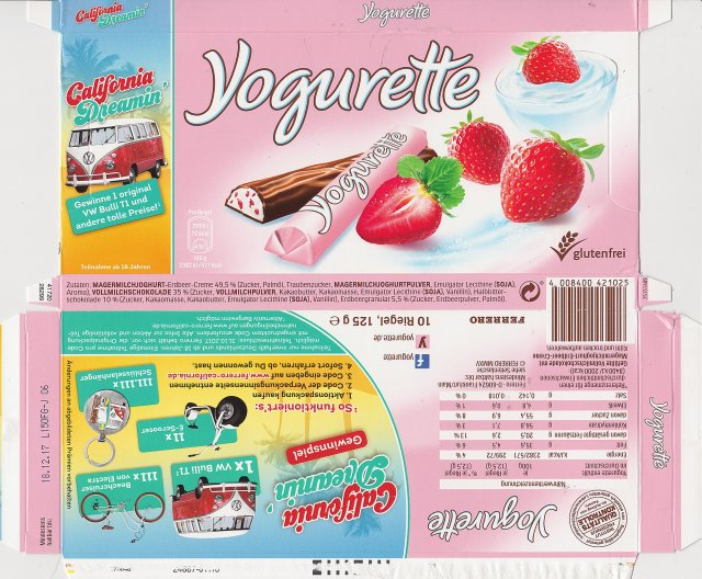 yogurette 4 72kcal glutenfrei California Dreamin